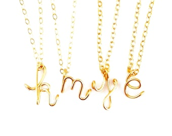 Gold Initial Script Pendant. Gold Lowercase Letter Pendant. Gold Filled Initial Necklace. Girls Teen Gift Under 50. Alphabet Pendant