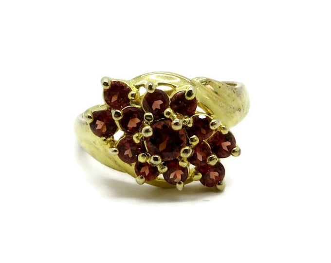 Garnet Glass Ring, Vintage Cocktail Ring, Gold Plated Sterling Silver Ring, Red Stone Dinner Ring, Gifts