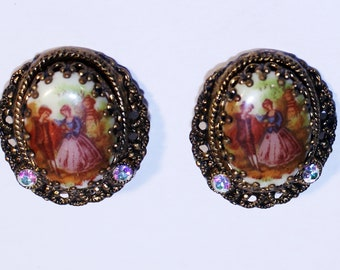 Vintage West Germany Cameo Earring, Cameo Jewelry, Vintage Jewelry, Old Cameo Jewelry, Clip on Earrings