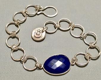 Lapis Lazuli bracelet. Lapis and sterling silver bracelet. Lapis chain link bracelet