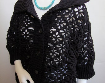 Crochet Cardigan, Black Cardigan, Merino Cardigan, Crocheted Cardigans, Cardigan Women, Cardigan Sweaters, Gift for Her, Available in M/L