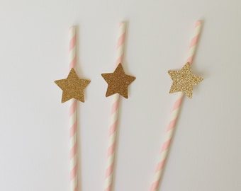 Pink Paper Straws- Pink and Gold Paper Straws- Star Straws- Twinkle Twinkle Little Star- Baby Shower Decor- Pink and Gold Baby Shower