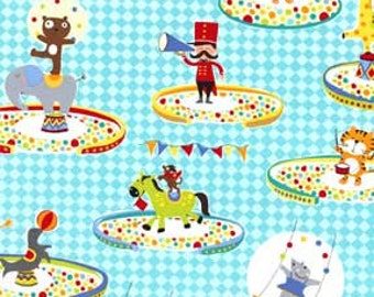 OOP HTF 28 inches Michael Miller Three Ring Circus Under The Big Top Cartoon Animal Fabric