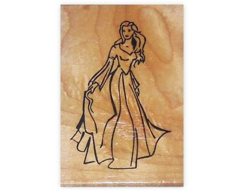 Princess mounted rubber stamp, lady, beautiful woman, girls birthday card stamp, person, Sweet Grass Stamps No.5