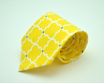 Bright Yellow and Gray Latticework  Men's Necktie