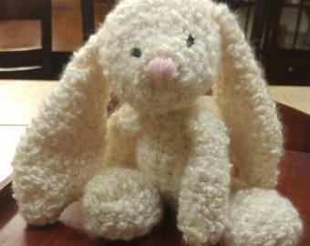 La la Bunny Floppy-eared crochet bunny with pom pom tail, handmade. Can be made in custom colors