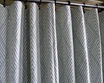 PAIR HORIZON blue ikat Drapery Panels LINED