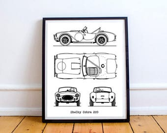 Shelby Cobra Blueprint, Shelby Cobra, Blueprint Art, Instant Download, AC Cobra, Blueprints, Shelby Cobra Gift, Automotive Art, 8x10, 11x14""