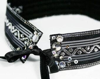 Woman fabric, lace and rhinestone Crystal Choker