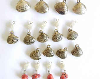 13 Seashell Charms Antique Gold-tone Glass and 4 Pearls and Coral-like Beads