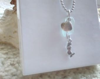 Genuine Light blue Mermaid Sea glass necklace  / sea glass jewelry / mermaid charm necklace/ seaglass necklace/ sea glass necklace/mermaid