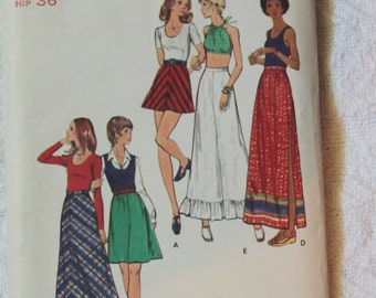 A-Line Bias or Gathered Ruffle Skirt 1970s Vintage Sewing Pattern BUTTERICK 6686