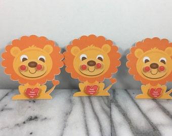 Valentines, Lion set of 12, Mini note cards, Valentines Day, Classroom Valentines, School Valentines, Preschool Valentines