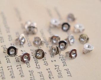 20 or 100 of 925 sterling silver earring nuts stoppers backs backers butterfly for earring posts in 4mm QT