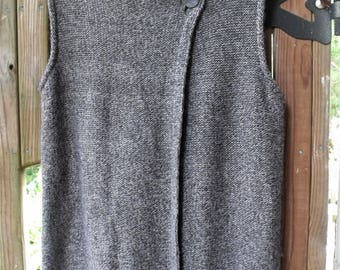 Large Sweater-Vest/ Thrifted Funwear/ Funky Romantic/ Shabbyfab Thrift/Side Button Sweater/ Retro Clothing/ Eco Thrifted/ Gray Knit Sweater