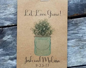 RUSTIC Watercolor Mason jar w/ Baby's Breath design. Flower Seed Packet Favor Shabby Chic Cute Favors for Bridal Shower or Wedding, Birthday