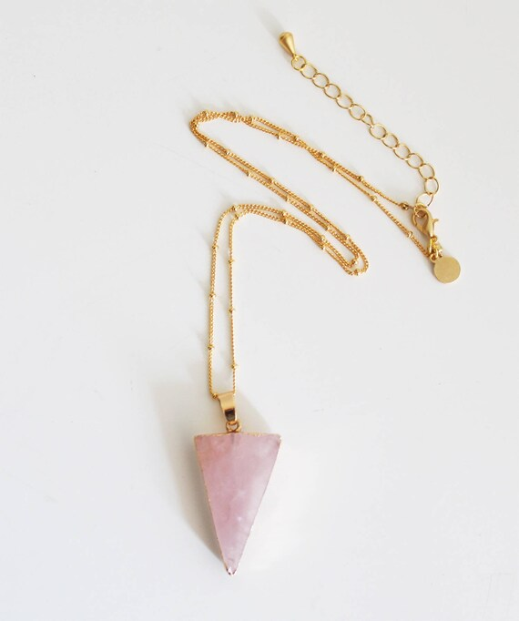 Diamond, natural stone pendant, pink, gold plated agate pendant necklace
