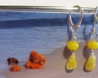 Amber Earrings 1.9 gr. Natural Baltic beads round drops Yellow egg yolk butterscotch opaque french clasp layered chandelier for all ages