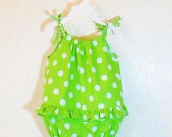 BABY GIRL ROMPER Newborn to 2T Spring Summer Outfit Toddler Polka Dot 3mo 6mo 9mo 12mo 18mo 24mo
