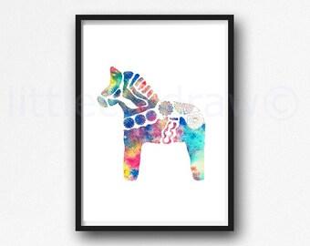 Dala Horse Print Colorful Horse Watercolor Swedish Dala Horse Watercolor Painting Print Horse Lover Wall Art Print Wall Decor