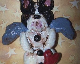 Folk Art Boston Terrier Dog Doll Ornament Snow Angel