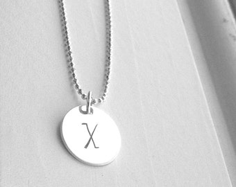 Initial Necklace, Sterling Silver Jewelry, Letter X Necklace, Letter X Pendant, Charm Necklace, Initial Charm, All Letters Available, X