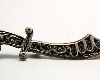 Vintage Silver Brooch Berber Sword - Morocco - mid 20th century
