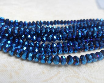 Metallic Blue BEads, Faceted Crystal, Rondell Beads, Blue Geometric Beads, 4x3mm, Small Blue Beads, Ethnic Beads, Chinese Crystal, DIY Beads