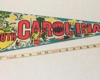 Vintage South Carolina Souvenir Felt Pennant