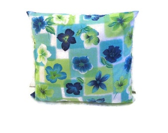 Floral Print Pillow Cover Blue Green White