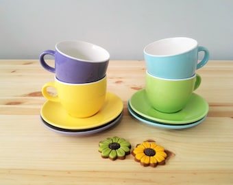 Vintage Cappuccino Cup and Saucer - Set of Four Multi Pastels Coffee Cup and Saucers - 1970s