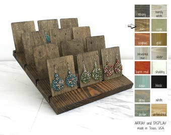 Wood Earring Cards Displays, Earring Card Holders, Earring Stands, Wood Jewelry Displays, Retail Fixtures, Craft Show Displays