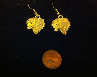 Native American Headdress Earrings, Gold Plated Native American Style Jewelry, Women's Gold Plated Earrings, Nickel Free Gold Plating