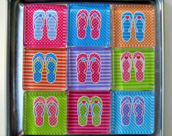 Flip Flops Refrigerator Magnets, Beach Decor, Pool Party, Summer Theme, Fridge Magnets in Storage Tin