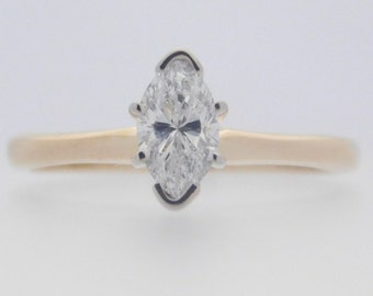 0.56 Carat Marquise Cut Diamond Solitaire Engagement Ring 14K Yellow Gold