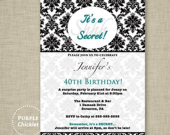 Teal Surprise Party Invitation Black Damask 40 50 60th Birthday Invite Surprise Dinner Party Elegant Adult Party Printable JPG Invite 55-2