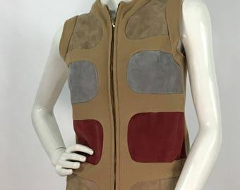 Vintage wool leather vest/leather patched vest