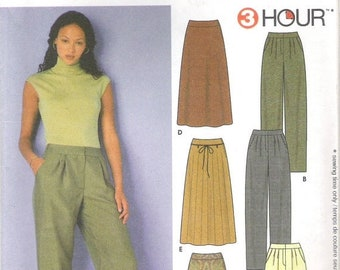 ON SALE 2000 Sewing Pattern - Simplicity 9479 relaxed Pants or Skirt Size 8-14 Uncut, Factory Folded