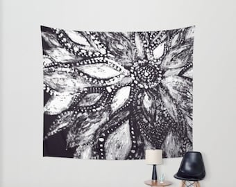 Black White Modern Flower Wall Tapestry, flower wall tapestry, black white tapestry, black floral tapestry, modern wall tapestry