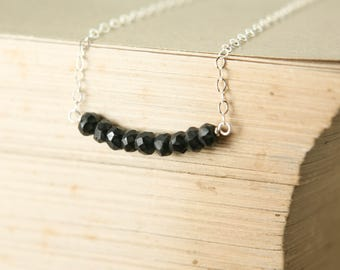 Black Spinel Beaded Bar Necklace - Sterling Silver Genuine Gemstone Simple Delicate Chain - Renewal, Success, Protection, Healing