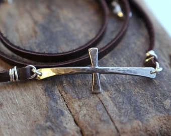 Rustic Sterling Silver Leather Wrap Cross Bracelet - Sterling Silver Cross Bracelet