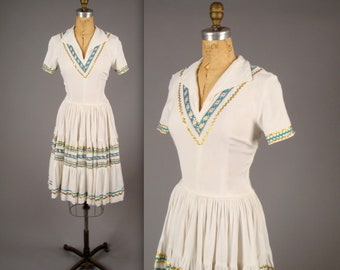 1960s white western wear patio dress • vintage 60s squaw dress • ric rac trim summer fiesta dress