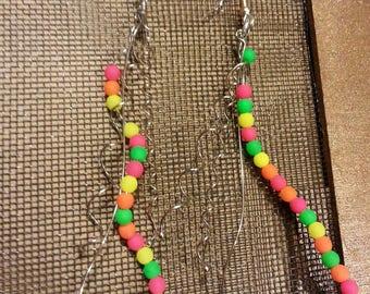 Neon spiral wire earrings