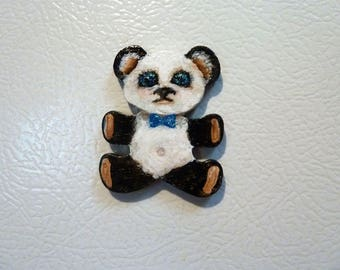 Hand painted Teddy bear magnet, Panda Bear, Cute magnet, Lockier magnet, Black and White Unique gift