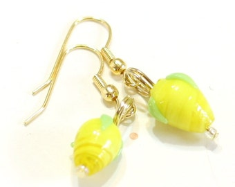 Yellow Lemon or Pear Lampwork Bead Earrings - clip-on option available - Fruit Jewelry