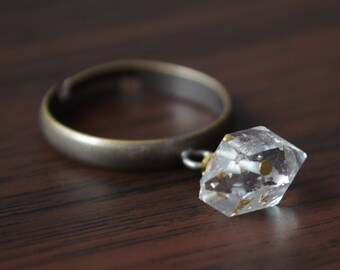 Herkimer Diamond Ring, Charm Ring, Antiqued Brass, Gemstone Nugget, Adjustable Size, Wire Wrapped, Burnish Bronze, Mixed Metal Jewelry