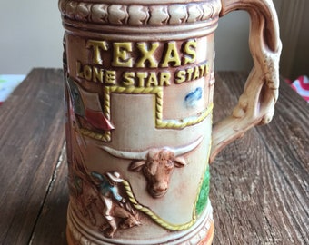 Super collectible and rare Texas stein - mug, Lone Star State, Texas Stadium, cowboy, oil derrick, Alamo, San Jacinto Monument, capitol