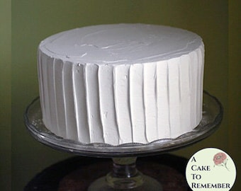 "8"" round fake cake, vertical ridges icing faux cake for photo shoots and home staging. Wedding cake topper display, food prop. Theater prop"