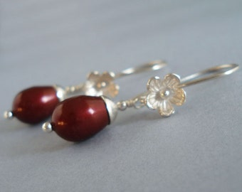 Sophisticated Bordeaux Earrings - Red Tear Drop Swarovski Crystal Pearls, Sterling Silver