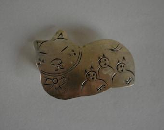 Brooch, silver cat pin, costume jewelry